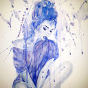 Blue Watercolor of A Woman